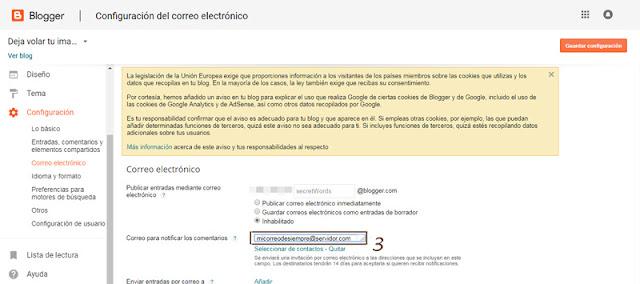 Paso 3 para volver a recibir los comentarios de tu blog por mail sin moderación