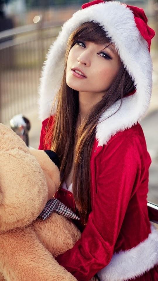 Cute Asian Christmas Girl   Galaxy Note HD Wallpaper