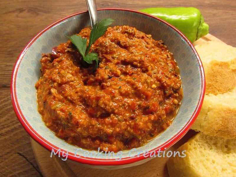 Турска разядка с маслини, чушки и орехи * Patè di olive e peperoni