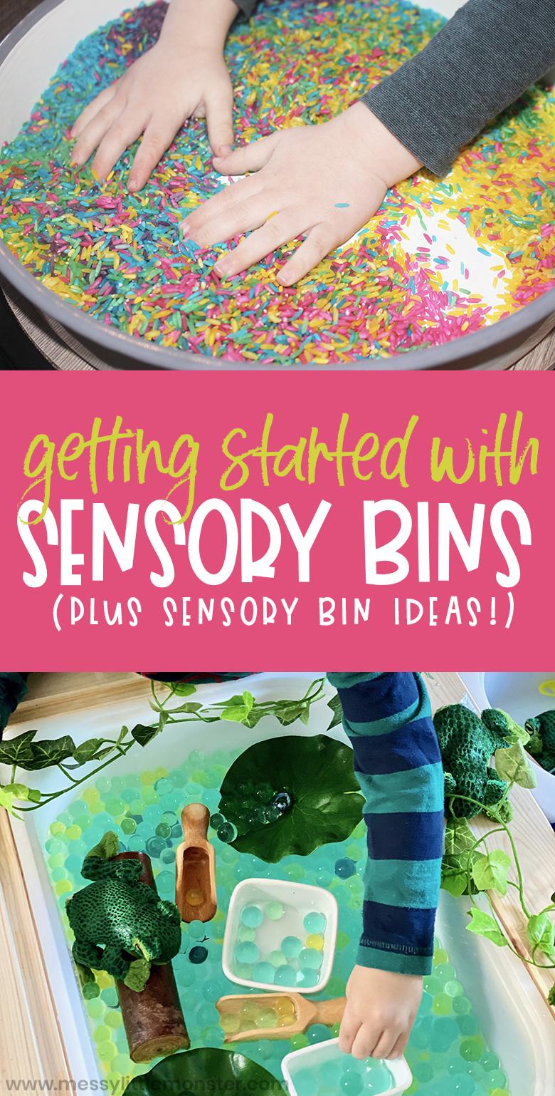 sensory bin ideas and how to get started setting up sensory bins.