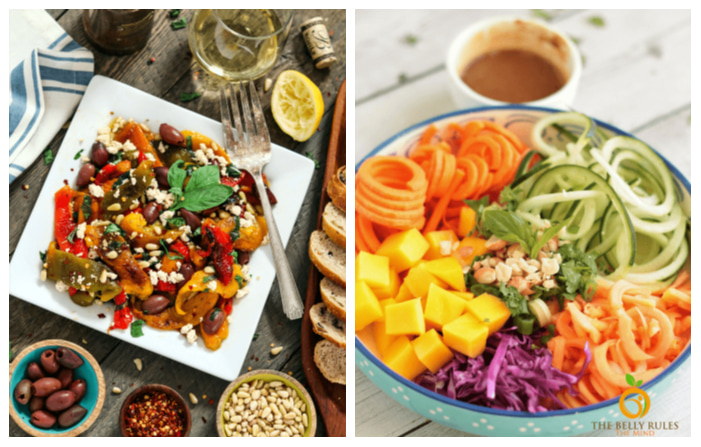 Photo of Roasted Pepper Salad with Tofu and Rainbow Thai Spiralized Salad