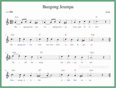 not balok lagu bungong jeumpa