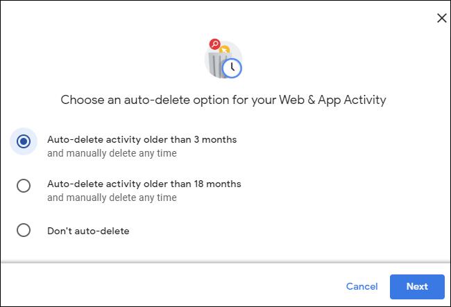 نشاط الحذف التلقائي الأقدم من 3 أشهر في حساب Google.