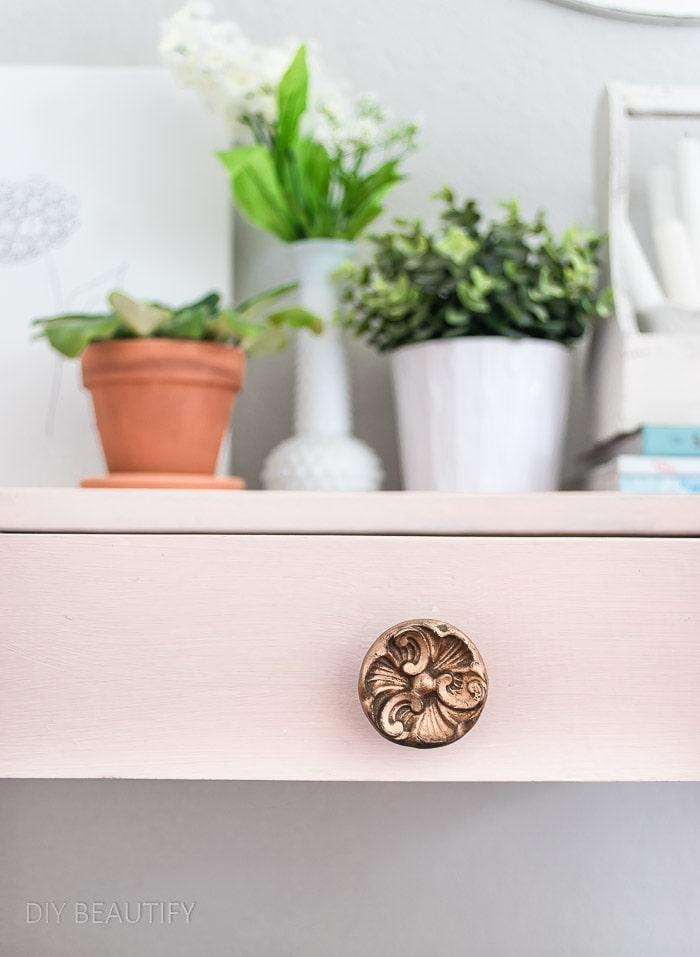 vintage gold drawer knob