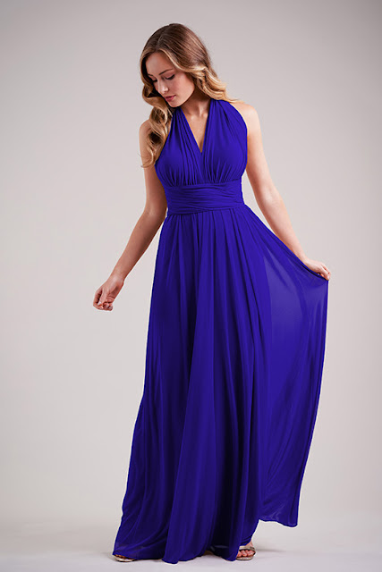 Dresses your bridesmaids will love and can wear again after the wedding - wedding dress ideas - blue stretch illusion bridesmaids dress with convertible neckline dress - wedding ideas blog - K'Mich Weddings Philadelphia - jasminbridal.com