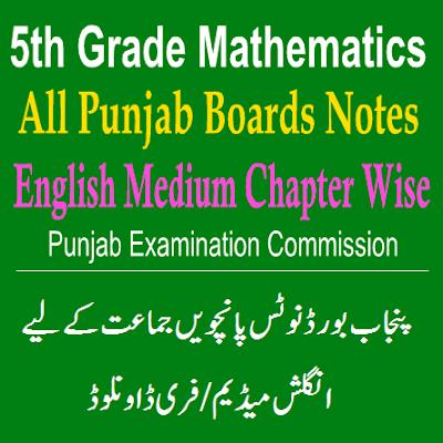 5th Class Math Punjab Board Notes