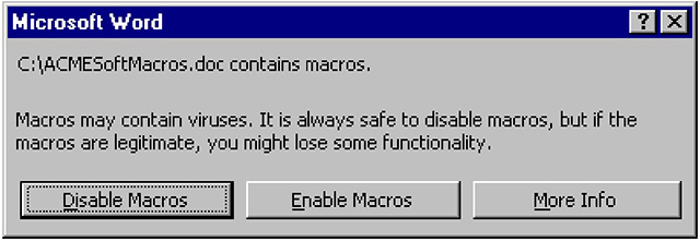 Microsoft Word - Administratively disabling macros graphic