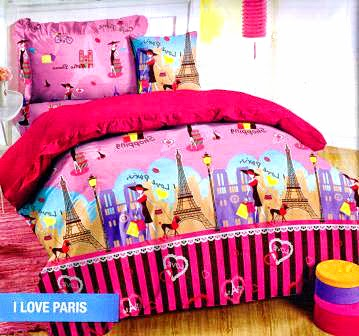 Sprei motif I Love Paris