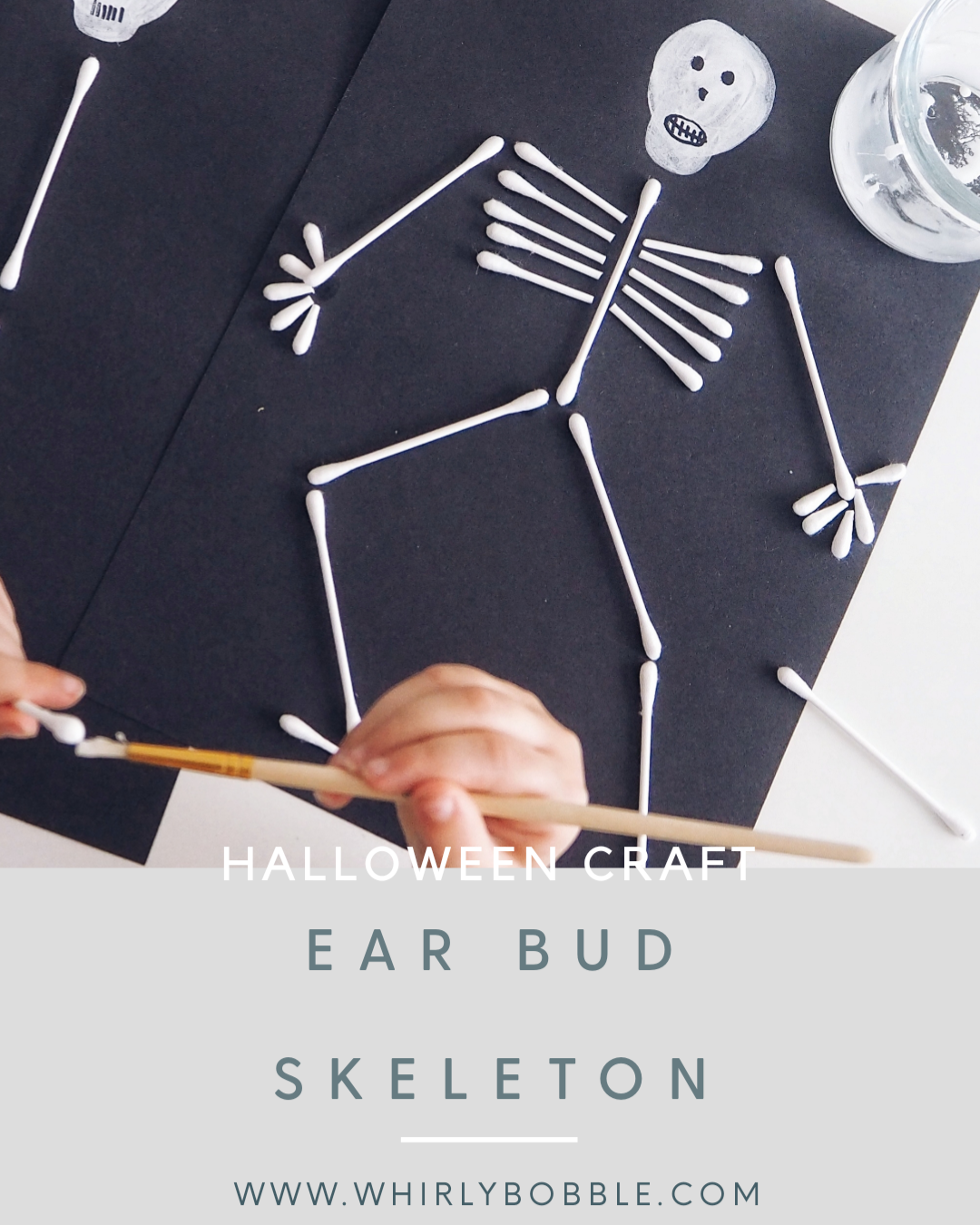 Cotton Ear Bud Halloween Skeleton
