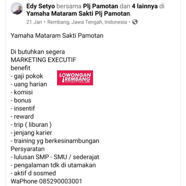 Lowongan Kerja Marketing Executif Yamaha Mataram Sakti Pamotan Rembang