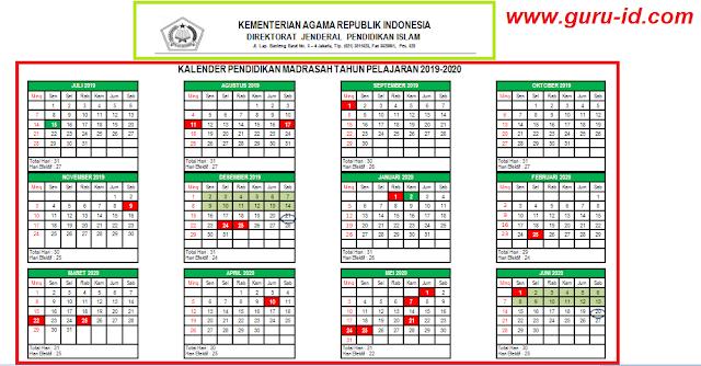 gambar Kalender Pendidikan Madrasah Tahun Pelajaran 2019/2020