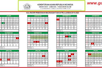 Kalender Pendidikan Madrasah Tahun 2019/2020