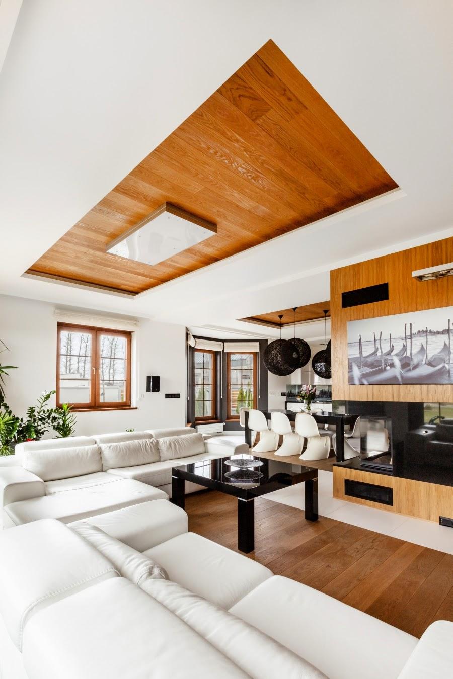 wnętrza, wystrój wnętrz, dom, mieszkanie, aranżacja, home decor, dekoracje, styl nowoczesny, biel i czerń, lampy, salon, jadalnia, kominek