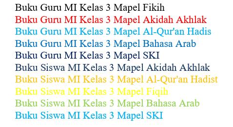 Buku Guru dan Siswa Mapel PAI K13 Khusus Kelas 3 MI