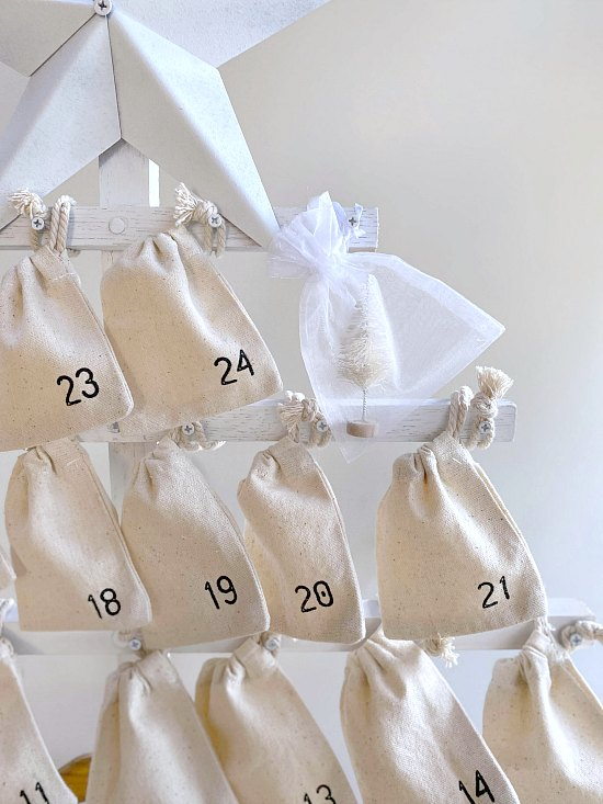 Numbered muslin bags filled with treats