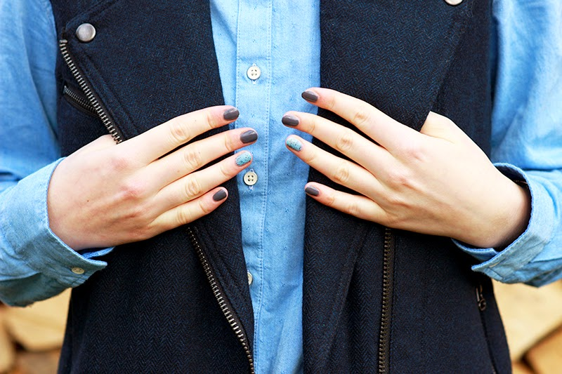 Baby blue shirt & woolen vest