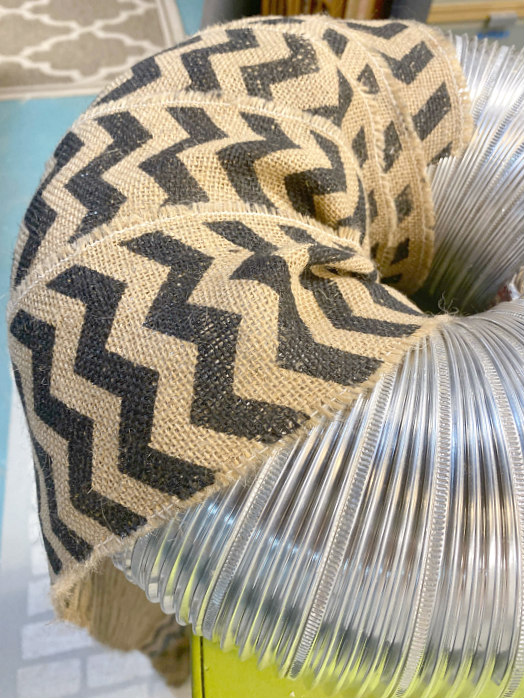 Wrapping the ductwork with chevron burlap
