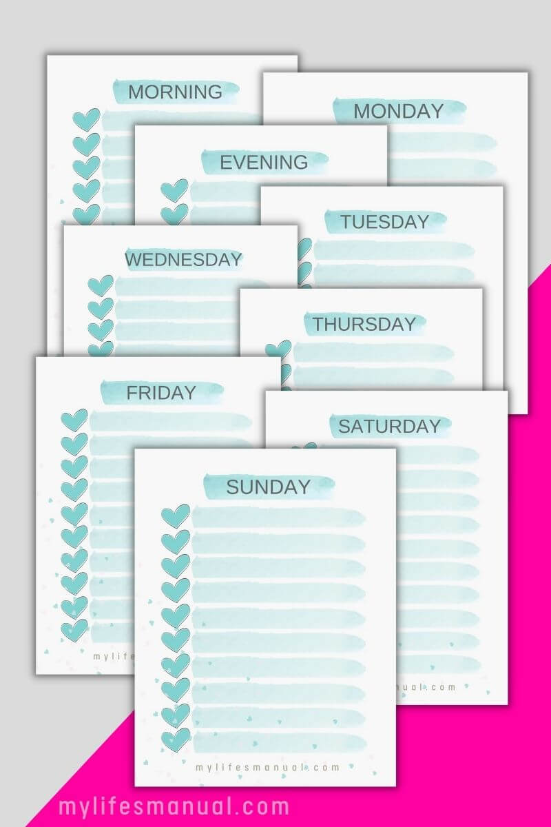 Printable checklists for tracking and organizing