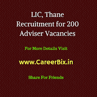 LIC, Thane Recruitment for 200 Adviser Vacancies