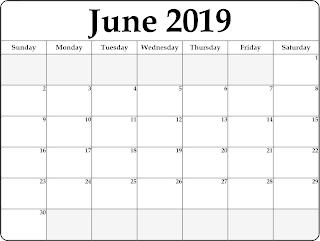 Free Printable Calendar June 2019