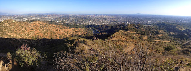 Panorama view east, south, and southwest toward the Los Angeles Basin from Mt. Hollywood, Griffith Park