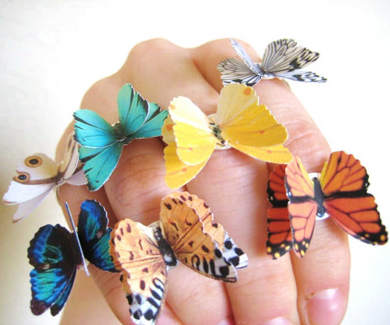 SpotLightJewelry Pick 2 Butterfly Rings Colorful Jewelry Silver Statement Rings 3-D Butterfly Jewelry