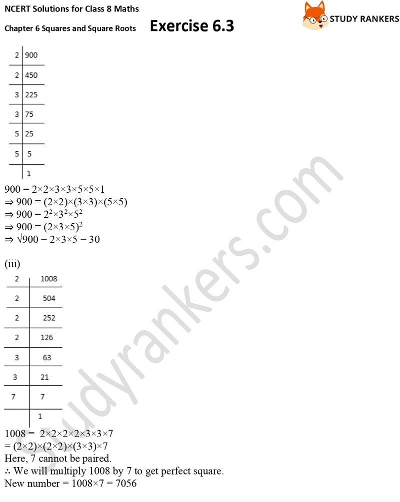 NCERT Solutions for Class 8 Maths Ch 6 Squares and Square Roots Exercise 6.3 9