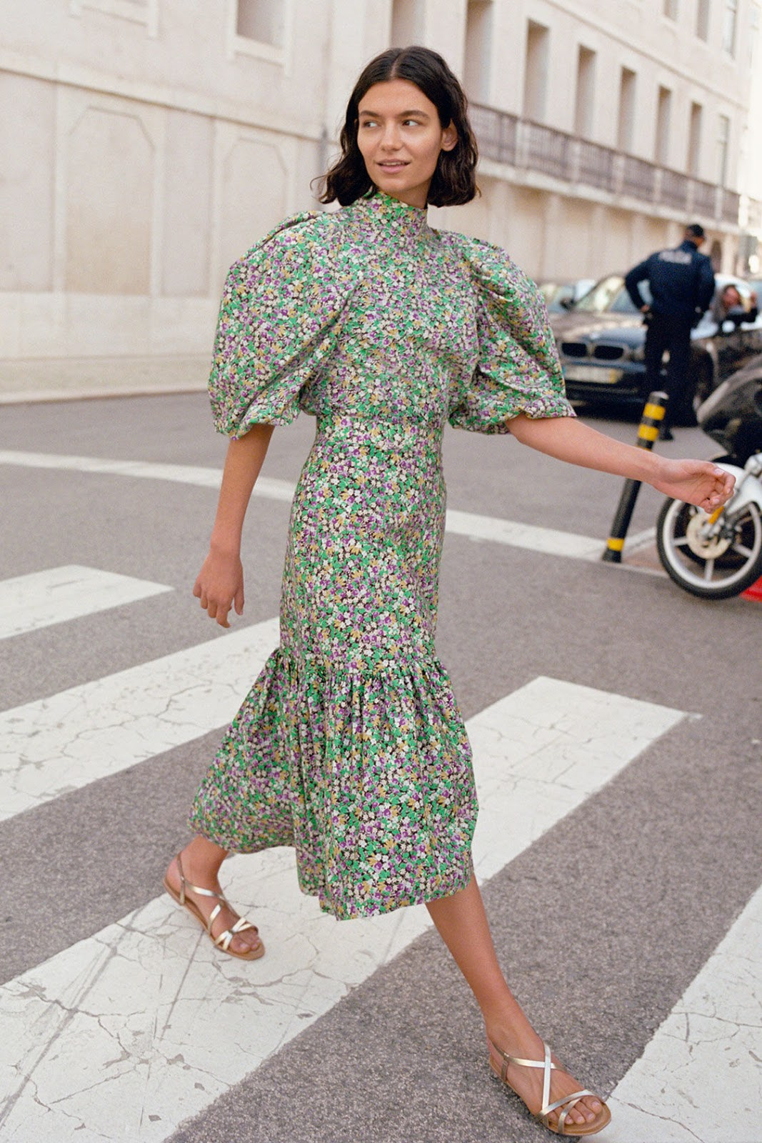 Affordable Yet Stylish Outfit for Spring and Summer — Floral Print Puff-Sleeve Top, Floral Print Midi Skirt, and Gold Flat Sandals