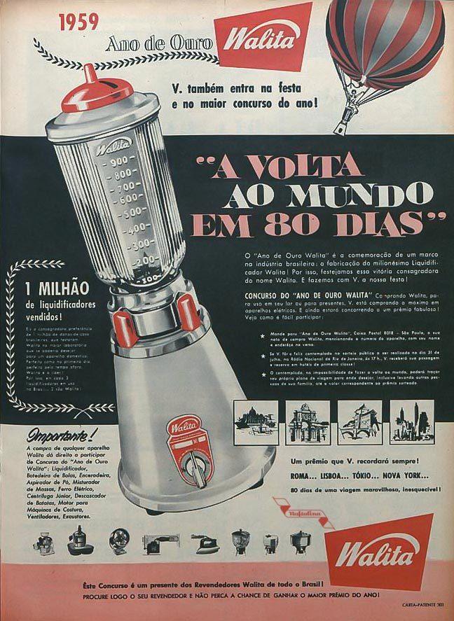 Anúncio antigo em comemoração ao milionésimo liquidificador da Walita produzido em 1959