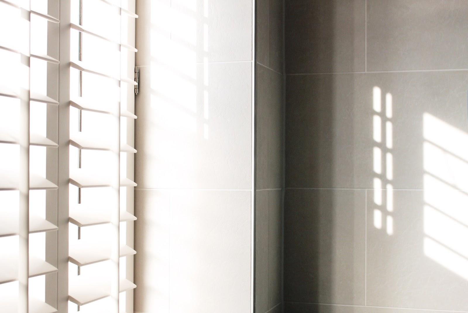 Morning Sunshine Coming Through Bathroom Blinds