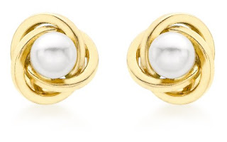 DROP PRICE Carissima Gold 9ct Yellow Gold 8mm Knot and Pearl Stud Earrings £28.00