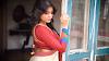 Saree Photoshoot Green & Red-White Saree Shreya On Her Sexy Saree Pose