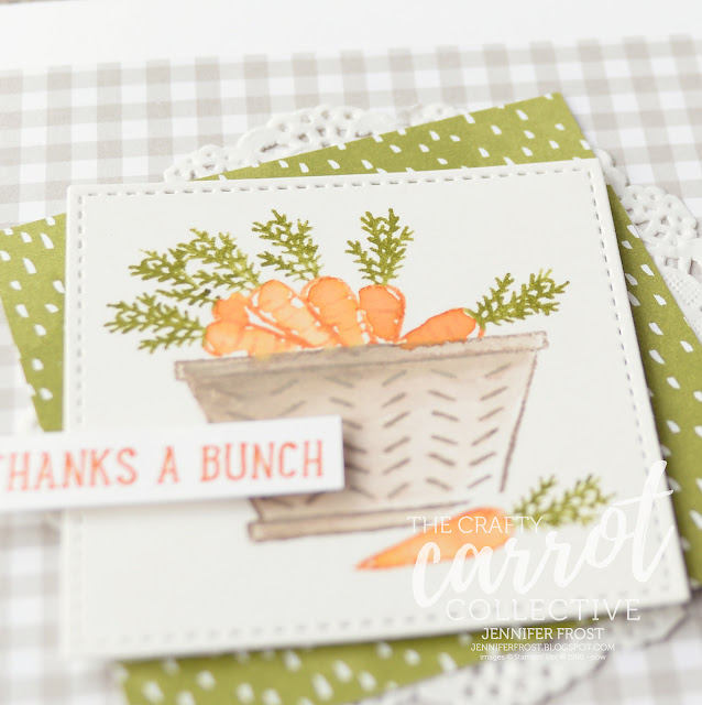 Thanks a bunch, Watercolor, Carrots, Basket Bunch, Thank you card, Succulent Garden DSP, The Crafty Carrot Co, Customer rewards program, Papercraft by Jennifer Frost
