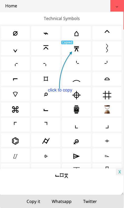 How to Copy ⌬ Technical Symbols?