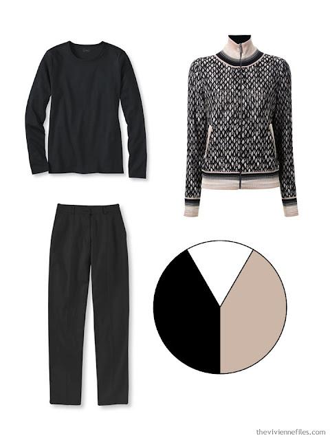 black, beige and white wardrobe color scheme