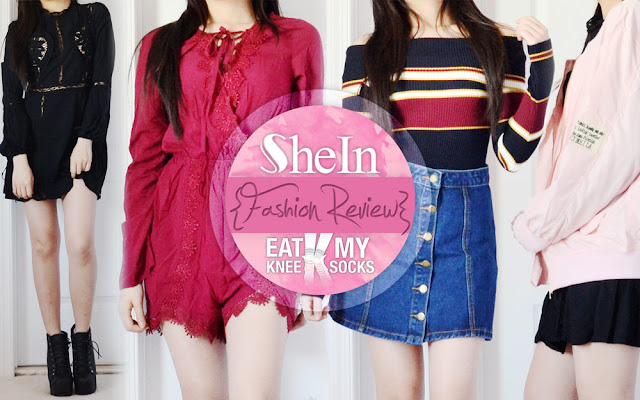 It's been a while since my previous SheIn fashion review, but today I'm back with four new items from SheIn, including a blue button-front denim skirt, burgundy lace-up front romper, pastel pink bomber jacket, and black crochet cutout For Love & Lemons dupe dress. As always, catch the full details after the jump!