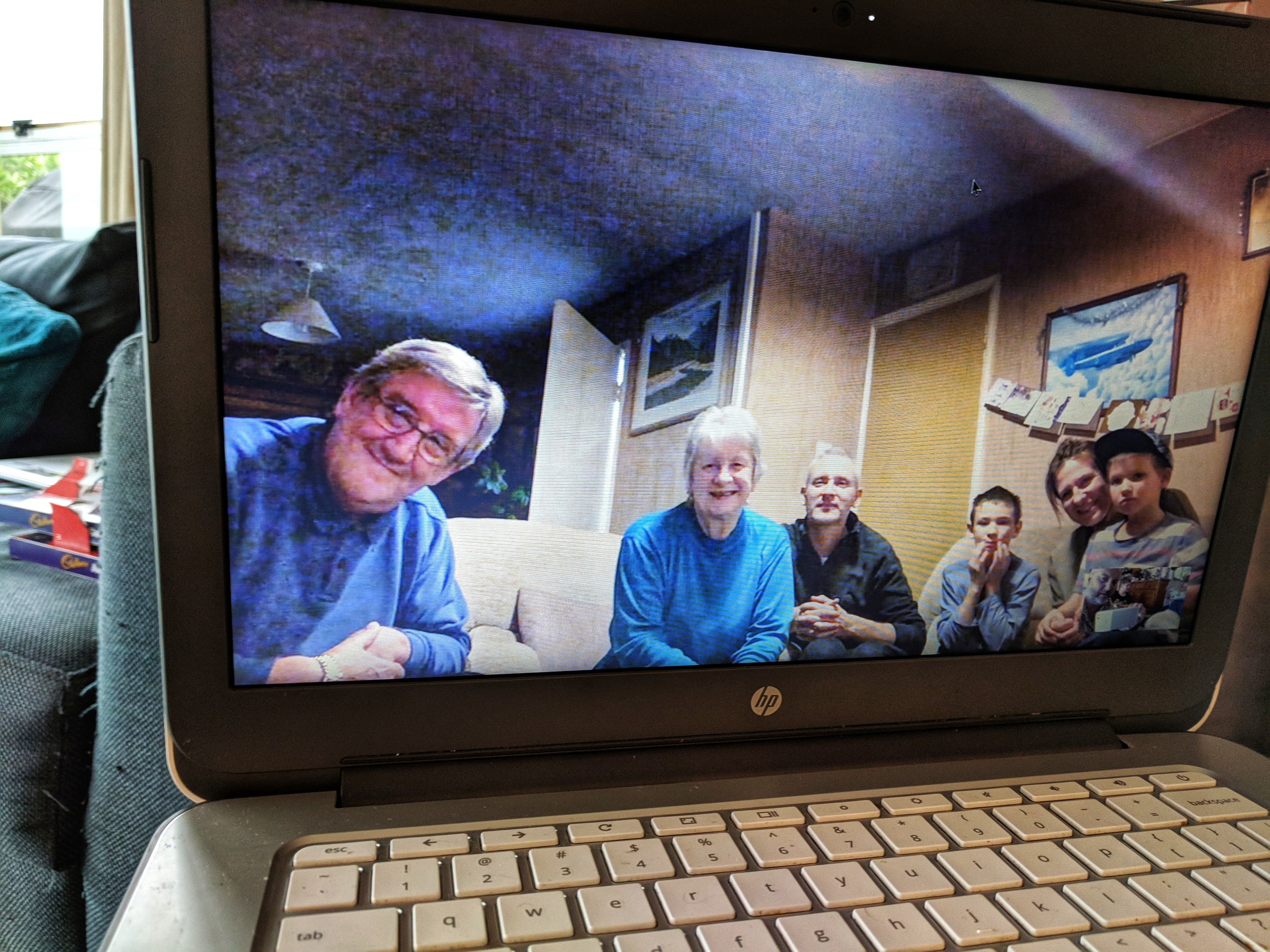 Family Christmas connection via laptop