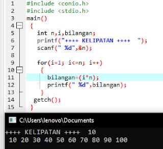 Contoh deret bilangan dengan kelipatan C++