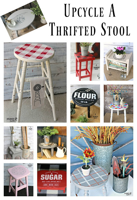 Upcycled, Repurposed and Stenciled Stools #IODTransfer #OldSignStencils #stencil #upcycle #dixiebellepaint #farmhousestyle