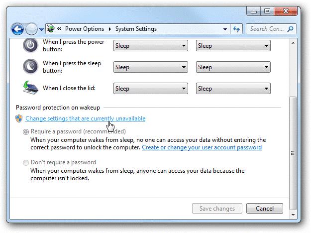 Thay đổi thiết lập trên Windows 8/7