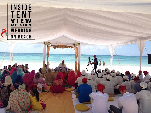 cancun Sikh Wedding Outdoor tent  Beach Riviera Maya