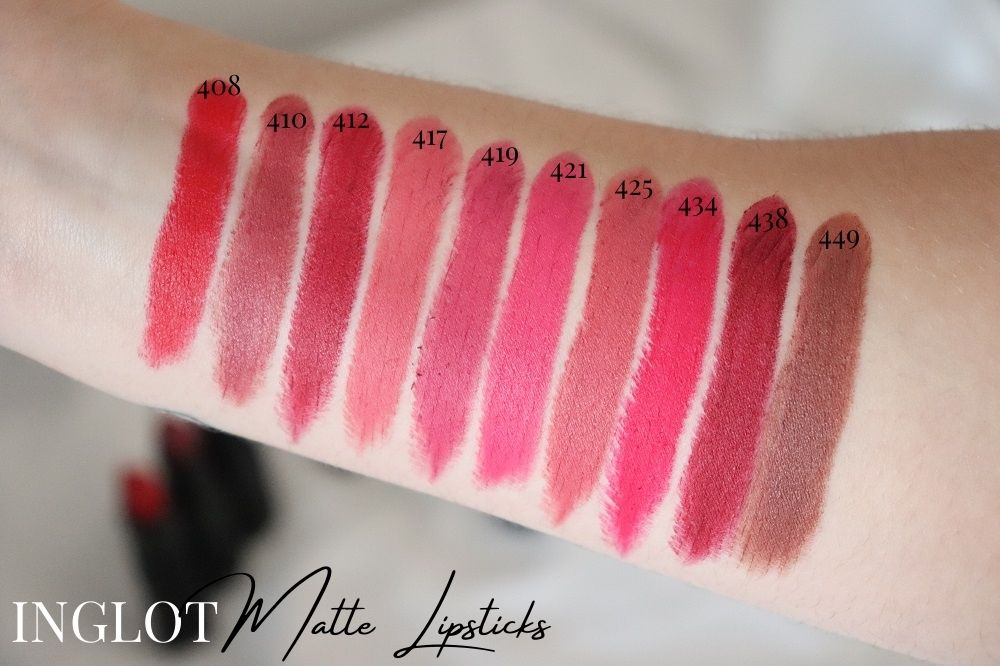 Inglot Cosmetics Matte Lipsticks - Swatches Review - London Beauty Blogger Makeup Artist - The Burn Out Brand It's Azami - The Target Idea Copywriter