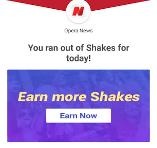 Click Earn Now to earn more shakes if you ran out of your daily shakes