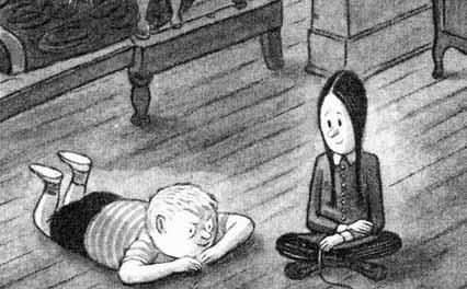 Os personagens feioso e vandinha em desenho original