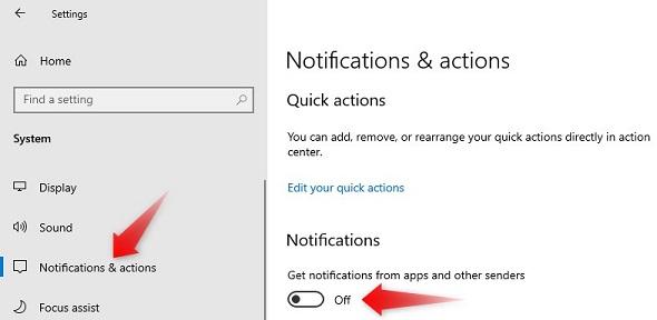 windows 10 notification disable kaise kare