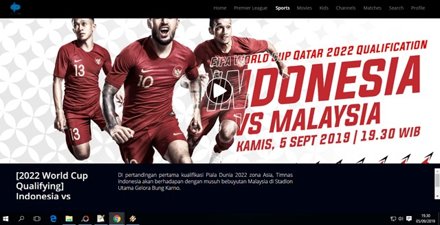 Live streaming Indonesia vs Malaysia - MolaTV