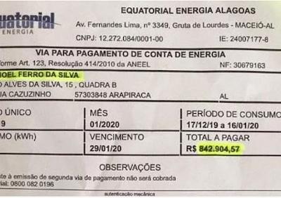 Em Arapiraca, consumidor recebe conta de mais de R$ 800 mil da Equatorial