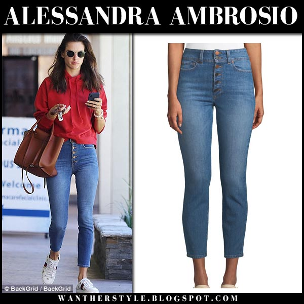 Alessandra Ambrosio in red sweatshirt and skinny jeans alice olivia street fashion september 18