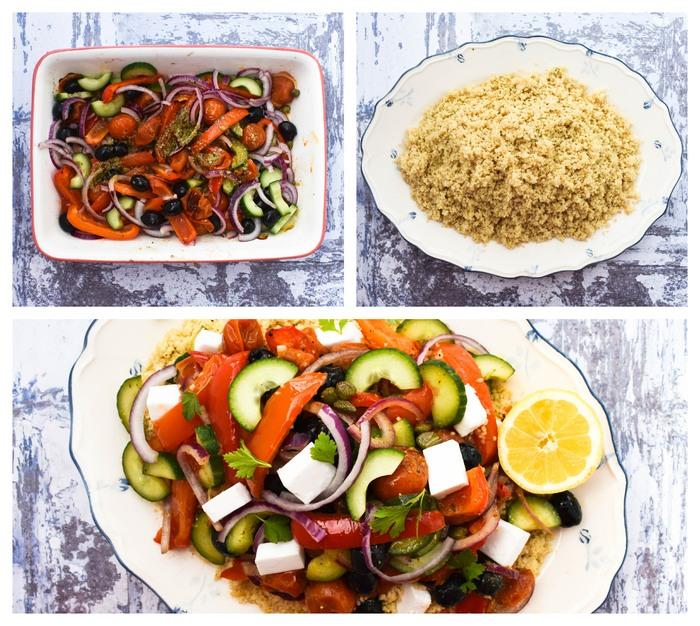 Mediterranean Roasted Vegetable Couscous Salad -step 4 - dressing the salad & plating up