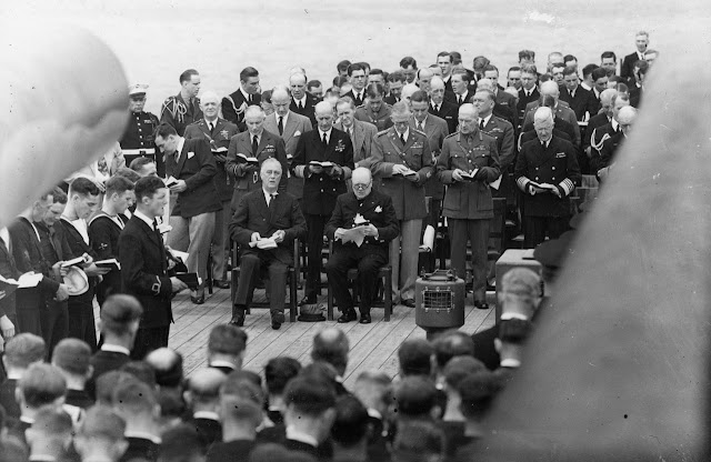 President Roosevelt and Prime Minister Churchill attend services aboard HMS Prince of Wales, 10 August 1941 worldwartwo.filminspector.com
